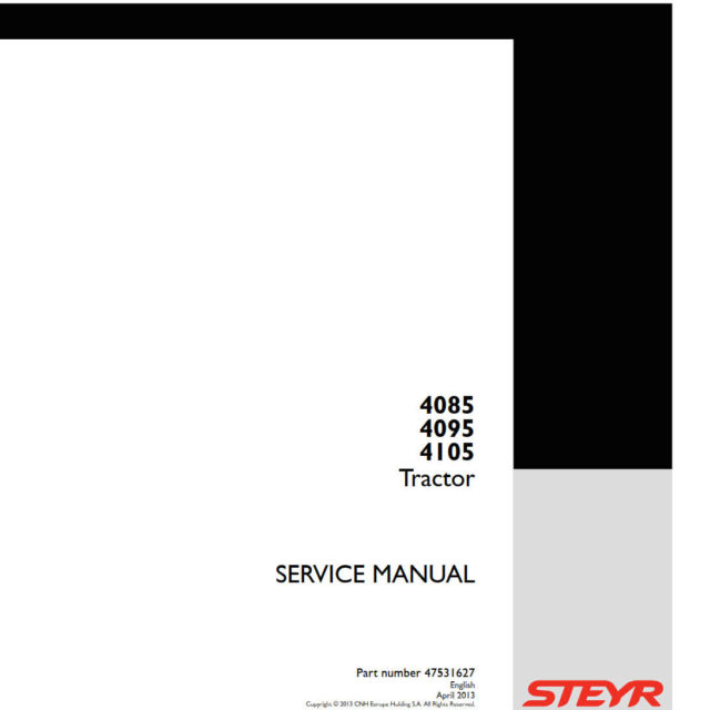 STEYR TRACTOR 4085, 4095, 4105 (SERVICE MANUAL)