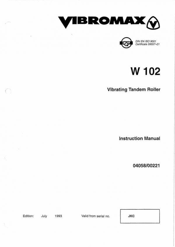Vibrating Tandem Roller W102